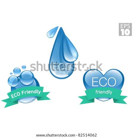 ECO environmentally friendly icons, clean bubbles, water drop, heart, logos - stock vector