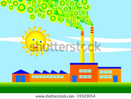 Eco-factory - stock vector