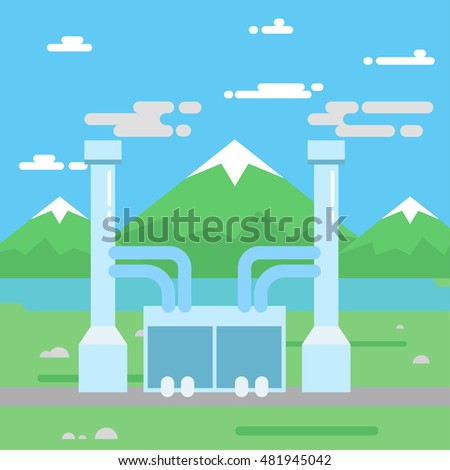 Eco factory vector icon. Alternative and environmental friendly industries and factories.