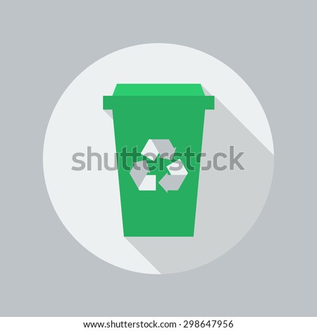 Eco Flat Icon With Long Shadow. Recycle Bin