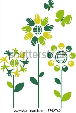 Eco flower symbols - human theme - stock vector