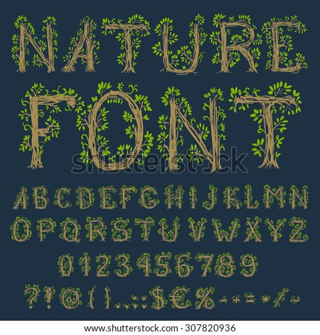 Eco font: alphabet, numbers and symbols in floral hand drawn style, vector EPS8 set - stock vector
