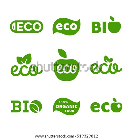 Eco food, organic bio products, eco friendly, vegan icons, ecology. Set of vector logo design elements, badges, labels and logotype templates for your business (21)