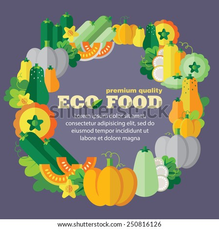 Eco food (vegetables, pumpkin family). Vector designed template with space for your text - stock vector