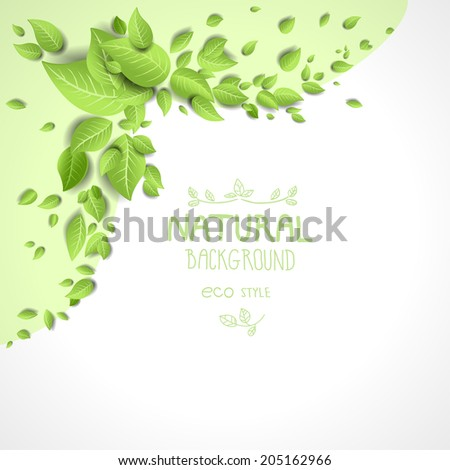 Eco frame with green leaves. Natural background with place for text - stock vector