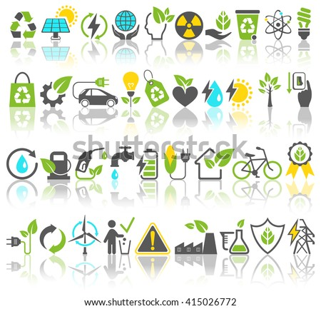 Eco Friendly Bio Green Energy Sources Icons Signs Set with Reflection Isolated on White Background - stock vector