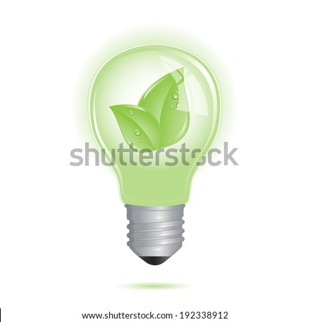 Eco friendly bulb with leaf inside