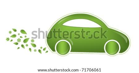 Eco-friendly car vector icon - stock vector