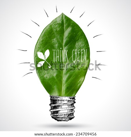 Eco-friendly concept about idea and leaf