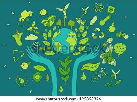 Eco Friendly concept, save earth concept, vector illustration, hand drawing - stock vector