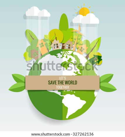 ECO FRIENDLY. Ecology concept with Green Eco Earth and Trees. Vector illustration. - stock vector