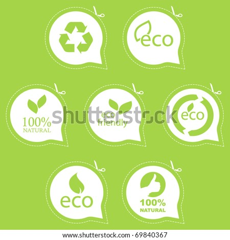Eco friendly emblem. Bio concept. Quality signs, fresh eco food. - stock vector