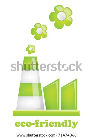 eco friendly factory - stock vector