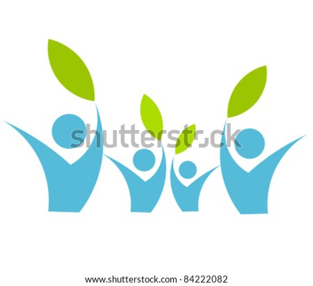 Eco friendly family concept - vector illustration - stock vector