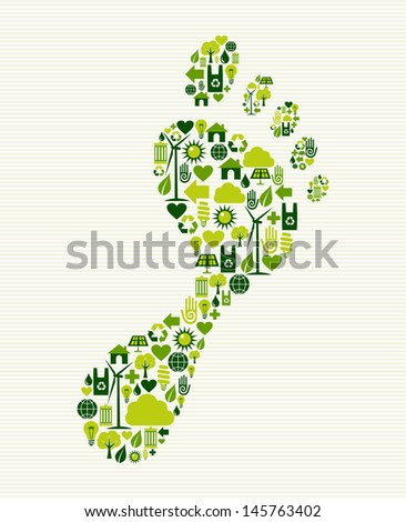 Eco friendly foot prints green concept splash. Vector file layered for easy manipulation and custom coloring. - stock vector