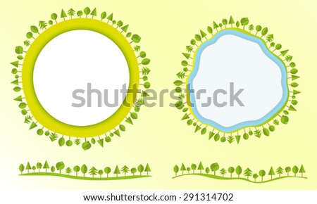 Eco friendly globe with trees labels design elements modern flat style business Vector illustration - stock vector