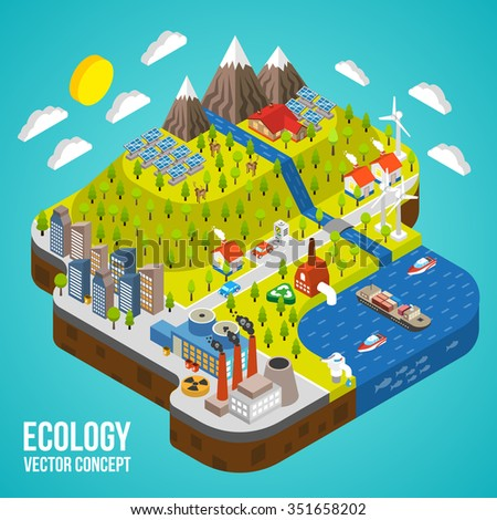 Eco Friendly green energy concept solar energy town wind energy electricity vehicle vector illustration - stock vector