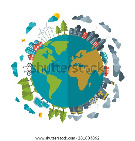 Eco Friendly, green energy concept, vector flat illustration. Solar energy town, wind energy. Dirty city, factories, air pollution, landfill. Atomic plants. Save the planet concept. Earth Day.