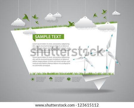 Eco friendly green origami template - stock vector