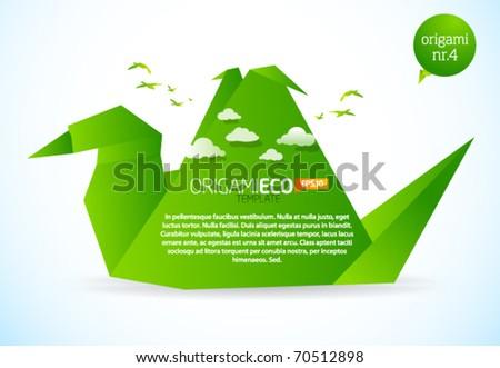 Eco friendly green origami template bird - stock vector