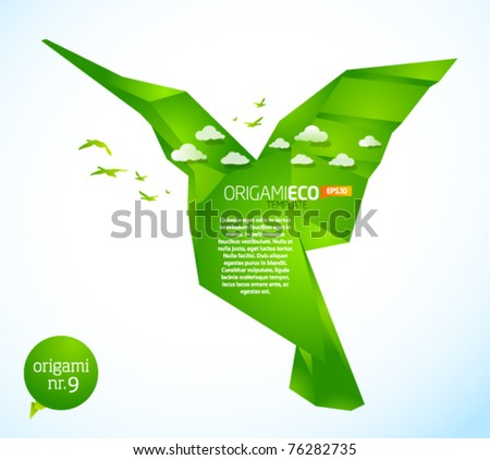 Eco friendly green origami template hummingbird - stock vector
