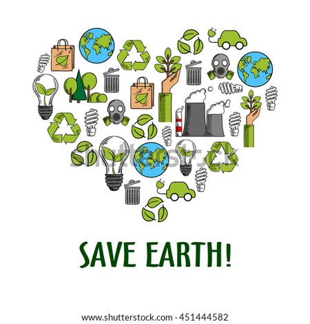 Eco friendly heart icon with colored sketches of light bulbs with green leaves, recycling symbols and paper bags, hands with plants and earth globes, trees, electric cars, fuming pipes and gas masks - stock vector