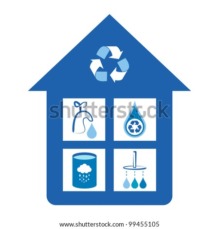 Eco friendly home water conservation concepts - tap water conservation, water recycling symbol, rain water tank, shower water conservation.