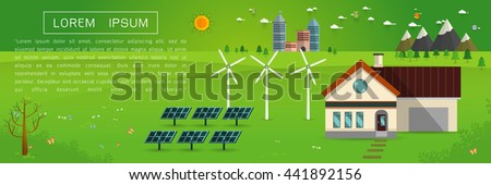 eco friendly house - solar energy, wind energy,Green energy ,urban landscape,Vector concept illustration. - stock vector