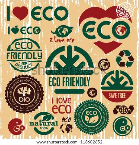 Eco friendly icons set. I love eco sign. Go green. - stock vector