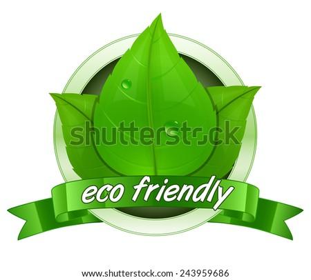 Eco friendly label. 100 percent natural badge. Vector illustration - stock vector