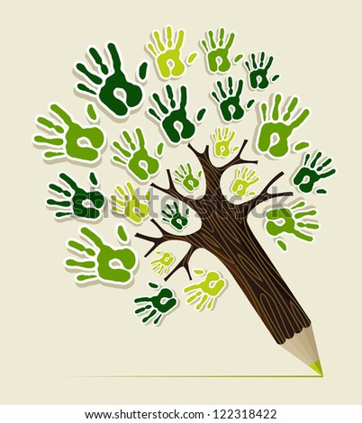 Eco friendly pencil tree hands concept illustration. Vector file layered for easy manipulation and custom coloring. - stock vector