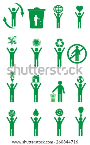 Eco friendly people icons set - stock vector
