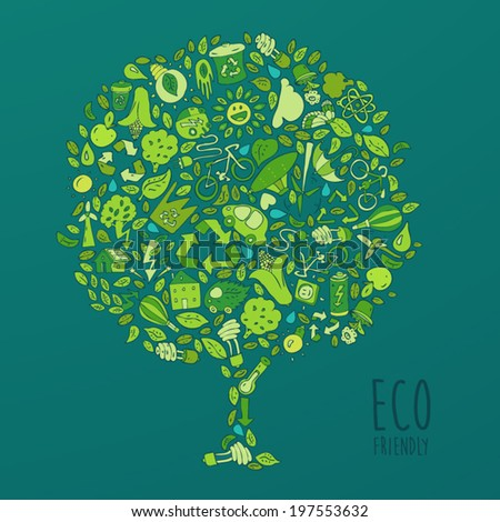 Eco Friendly set, save earth concept, vector illustration, hand drawing - stock vector