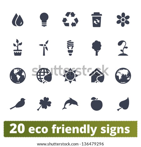Eco-friendly signs: vector set of ecological icons - stock vector
