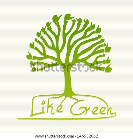 Eco friendly thumb up icons tree set. This illustration is layered for easy manipulation and custom coloring - stock vector