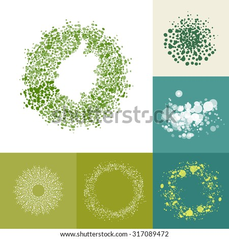 Eco friendly too complex ring elements. Healthy dots abstract vector illustration. Green symbol set. Natural food label elements.  - stock vector