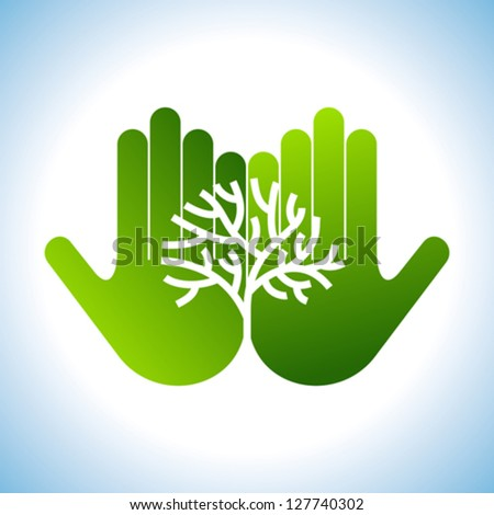 Eco friendly tree in hands illustration - stock vector