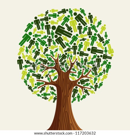 Eco friendly tree with green people illustration. Vector file layered for easy manipulation and custom coloring. - stock vector