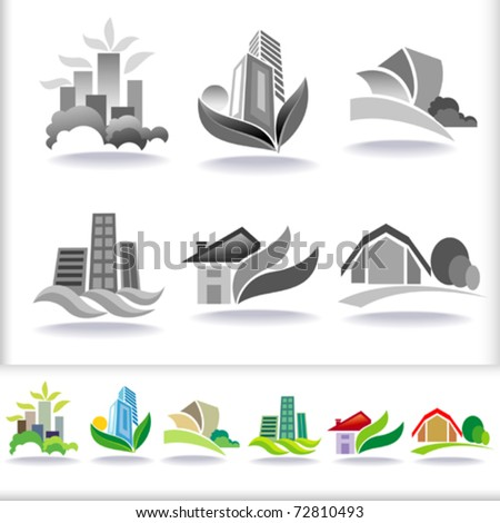 Eco Friendly Urban Architecture Symbols - ICON Set - stock vector
