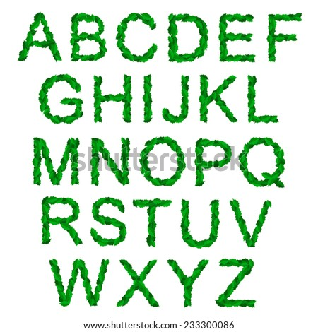 Eco-friendly vector alphabet set written with green symbols made of holy leaves or plants with thorns