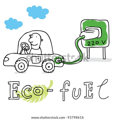 Eco fuel; ecology and environment protection, vector drawing ; isolated on background. - stock vector