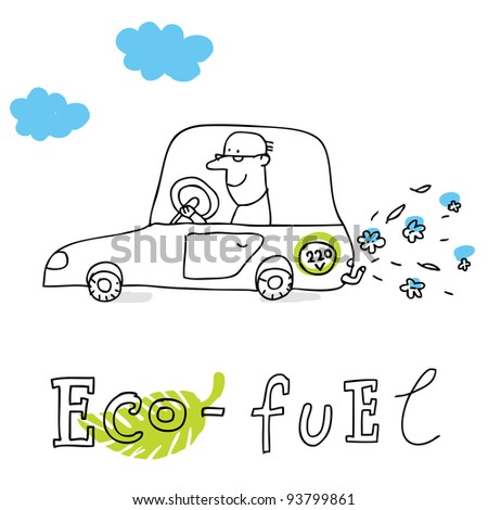 Eco fuel; ecology and environment protection, vector drawing ; isolated on background.