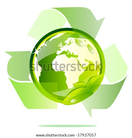 Eco globe recycle - stock vector