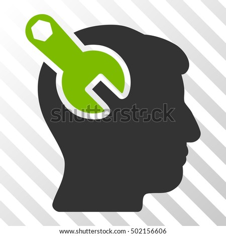 Eco Green And Gray Head Neurology Wrench interface toolbar pictogram. Vector pictograph style is a flat bicolor symbol on diagonal hatch transparent background.