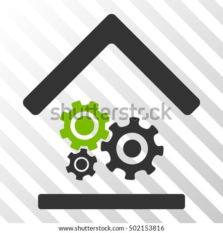 Eco Green And Gray Workshop toolbar icon. Vector pictogram style is a flat bicolor symbol on diagonal hatch transparent background.