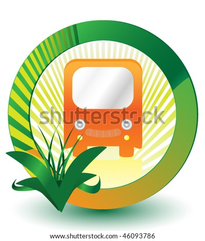 Eco Green Bus Sign - stock vector
