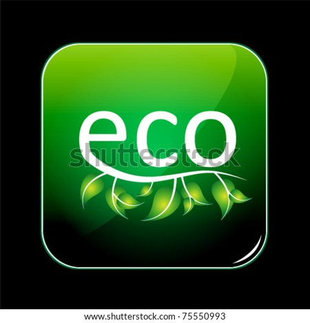eco green button - stock vector