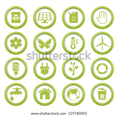 Eco green buttons set - stock vector