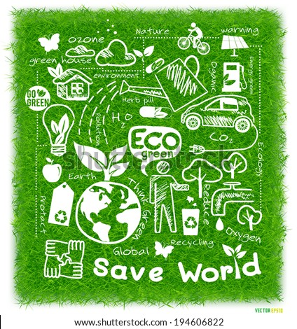 Eco green drawing save the earth concept on green grass background, vector illustration