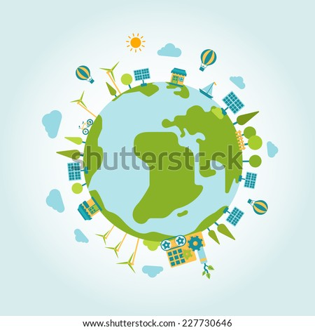 Eco green energy lifestyle planet world on globe modern flat style template. Windmill and sun battery, eco transport, non pollutive factory production, trees and clouds. Ecology concepts collection. - stock vector